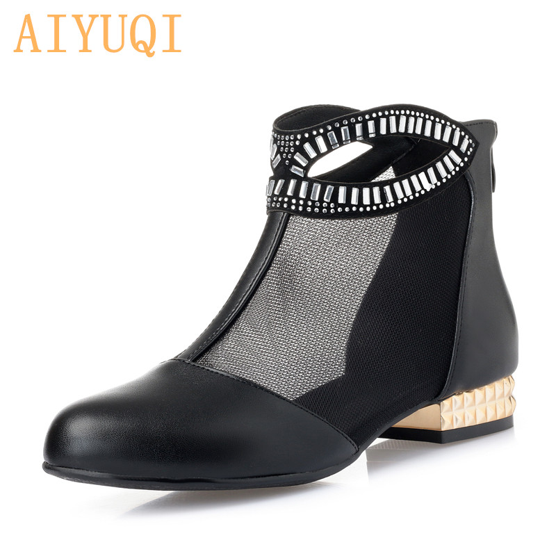 AIYUQI Summer female mesh sandals 2019 spring new genuine leather hollow sandals, fashion rhinestone dress shoes women