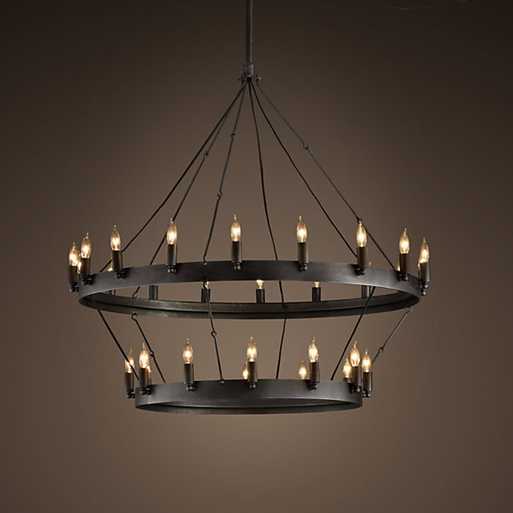 8817 american manufacturers supply double round wrought iron 8817 american manufacturers supply double round wrought iron chandelier can be customized wholesale candle chandelier lamp proje in chandeliers from lights aloadofball
