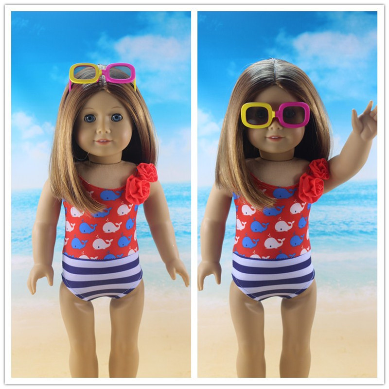 DOLL  Swimsuit Dolphin Swimsuit  For 18 Inch American&43 Cm Baby New Born Doll Generation Girl`s Toy,The Best Gift For A Child