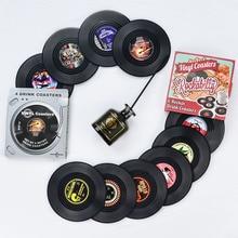 4 6 PCS Plastic Vinyl Record Coaster Cup Mat Black Retro Mug Coaster Pad Heat-resistant Non Slip Hot Drink Holder Home Decor