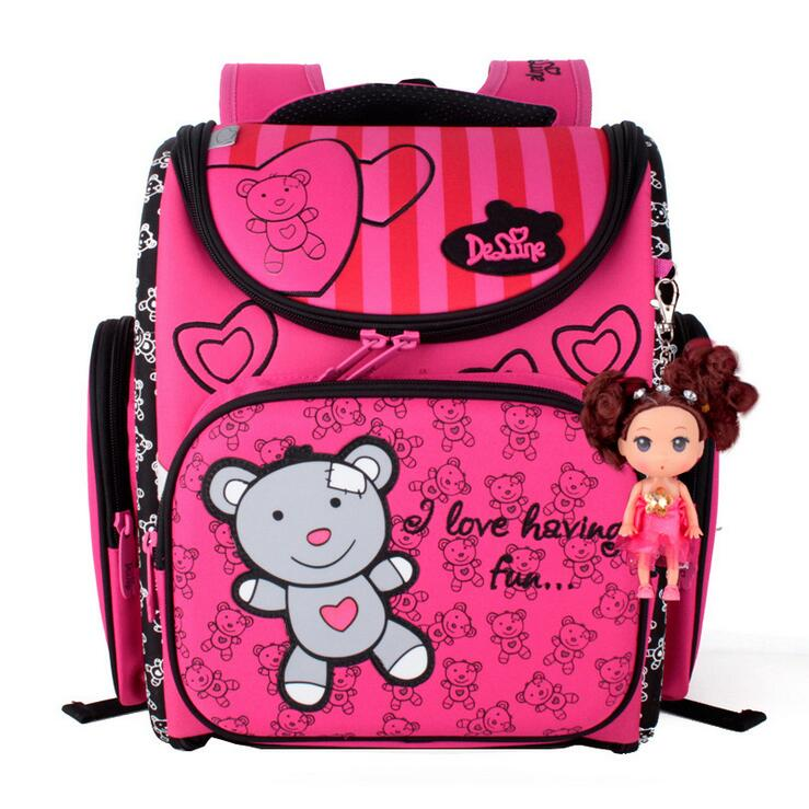 New Fashion DELUNE Children Cartoon Dogs Cute Bear Girls School Bags Waterproof Foldable Orthopedic School Backpacks Kids Bolsas delune new european children school bag for girls boys backpack cartoon mochila infantil large capacity orthopedic schoolbag