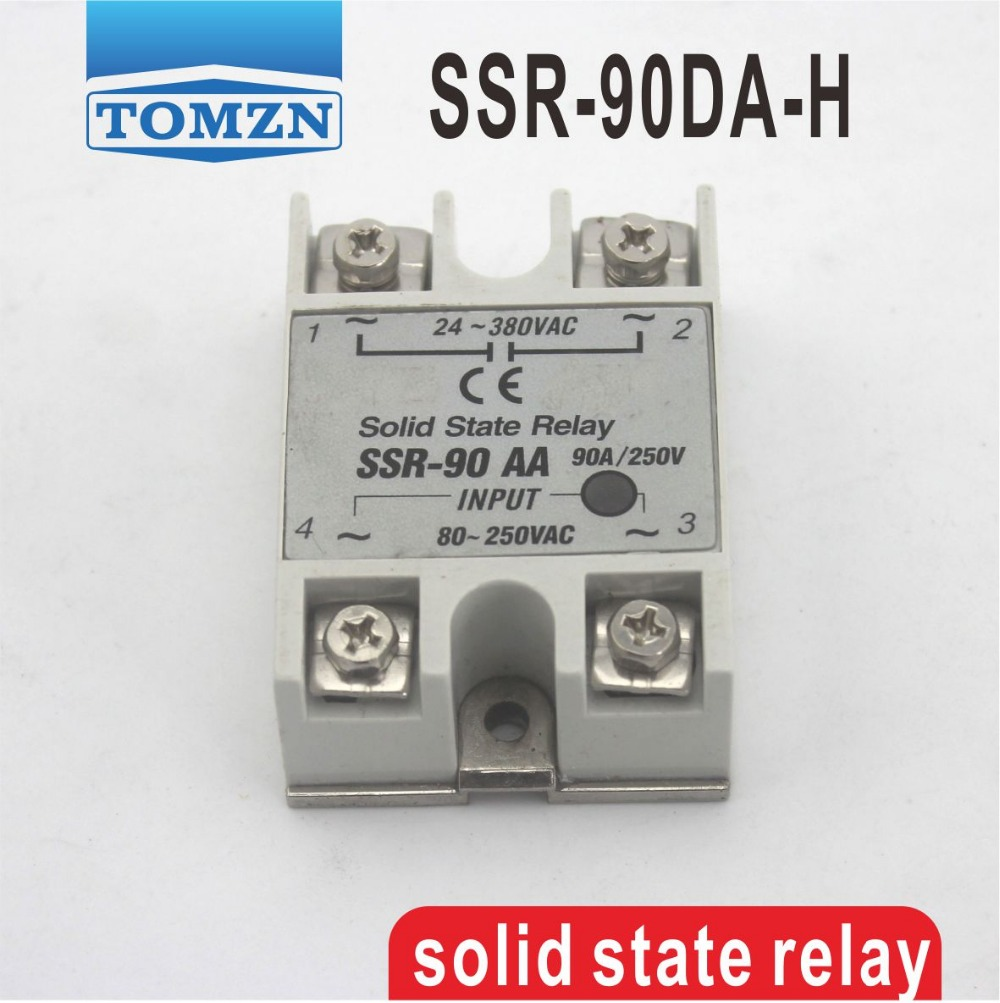 90DA High voltage type SSR input 3-32V DC load 90-480V AC single phase AC solid state relay normally open single phase solid state relay ssr mgr 1 d48120 120a control dc ac 24 480v