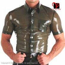 Militay Latex uniform button turn down collar pocket Tee shirt Rubber Top Gummi blouse clothing clothes