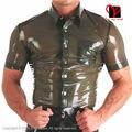 Militay uniforme de látex botón turn down collar bolsillo camiseta superior de goma gummi blusa clothing ropa vestido verde transparente