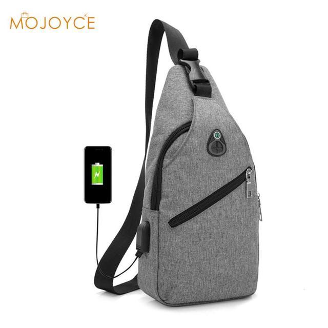 1b6919c3bd7b Men Nylon Chest Pack USB Charge Casual Shoulder Bag Fashion Crossbody Bags  for Male Messenger Bags