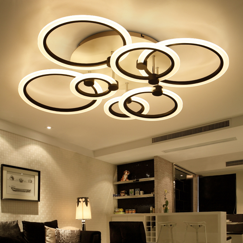 rings white black chandeliers LED circle modern chandelier lights for living room acrylic Lampara de techo indoor Lighting rings white black chandeliers led circle modern chandelier lights for living room avize acrylic lampara de techo indoor lighting