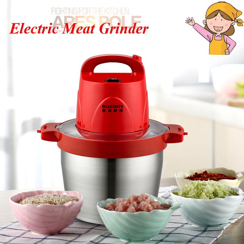 5L Meat Grinder Household Electric Large Capacity Meat Cutter Stainless Steel Crushed Garlic Pepper Ginger Slice Cuisine HB-808 portable stainless steel electric pepper spice salt milling grinder red silver 6 x aaa