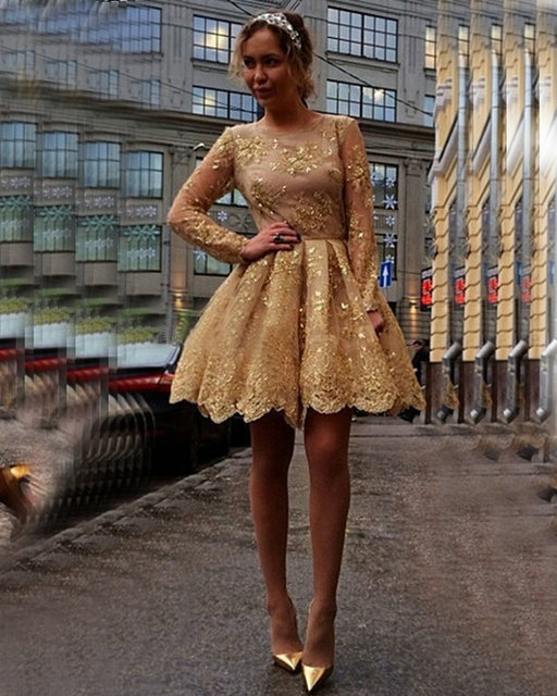 fff48b2e8f8 robe de soiree Gold Sequins Appliques Lace Short Prom Dresses 2017 Long Sleeve  Cheap Sexy Homecoming Party Dress Evening Gowns
