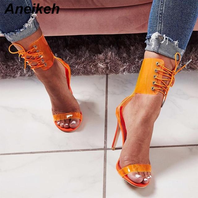 Aneikeh Gladiator Transparent PVC Peep Toe Lace Up High Heel Sandals Sexy  Dress Heels for Women afa32859388f