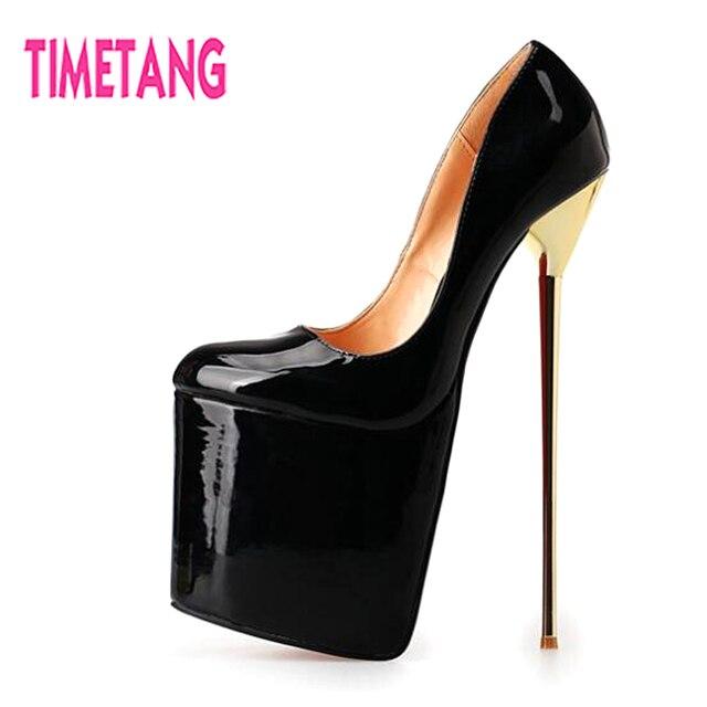 3bb2d4c4b34 TIMETANG 22cm Super High Woman Stiletto Heels Cross Dressing Shoes T-Stage  Runway Red Carpet 9.5cm Platform Pumps Big Size40-50