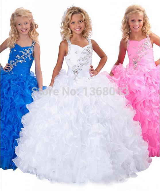 2018 New Beautiful Beading Floor Length Ball Gown   Flower     Girl     Dress