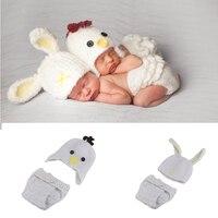 أحدث التريكو الكروشيه الفصح الأرانب والدجاج الوليد استحمام الطفل التصوير الدعائم الحيوان ملابس الطفل الفتيات هدية