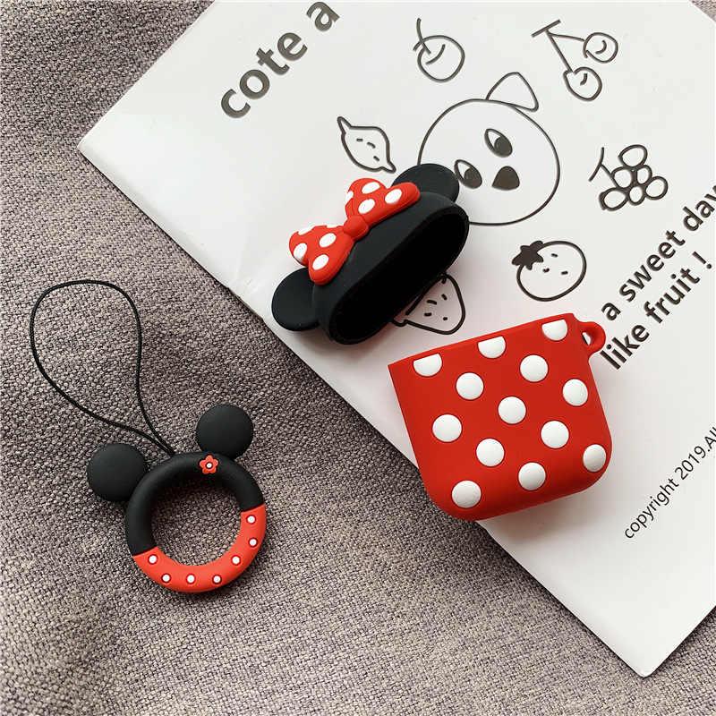 Bluetooth наушники чехол для Airpods 2 1 Аксессуары Защитная крышка сумка анти-потерянный ремень милый мультфильм DIY силиконовые Микки и Минни Маус