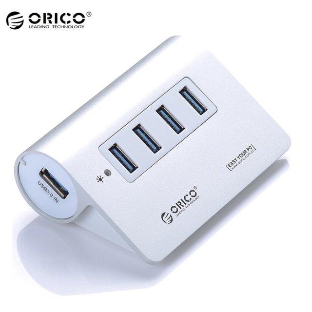 Original orico mini alumínio de alta velocidade 4 portas usb 3.0 Adaptador de Desktop Hub HUB para Smartphones Tablets Com 1 M Cabo prata