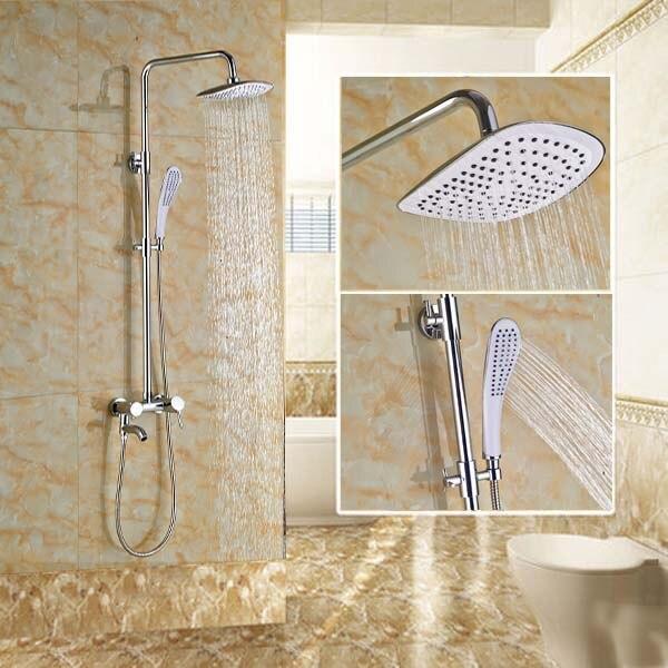 Wholesale And Retail Rain Shower Faucet Tub Spout Valve Mixer Shower Mixer Tap w/ Handheld Shower thermostatic valve mixer tap w hand shower tub spout tub faucet chrome finish