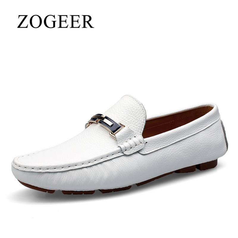 ZOGEER Men Shoes, Men Loafers Big Size 35-46, White Shoes Men Genuine Leather Spring Work Slip On Adult Casual Breathable Design topsell 2017 men women 3 casual shoes black red white solomons runs breathable shoes free shipping size 40 46 speedcros