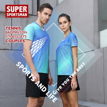 Męskie ubrania do ćwiczeń Fitness bieganie garnitury strój na siłownię damski tenis stołowy jednolite ubrania zestaw do trenowania w badmintona odzież sportowa tanie i dobre opinie Poliester Krótki 20190705 Anty-pilling Przeciwzmarszczkowy Oddychające Szybkie suche Koszule Pasuje prawda na wymiar weź swój normalny rozmiar