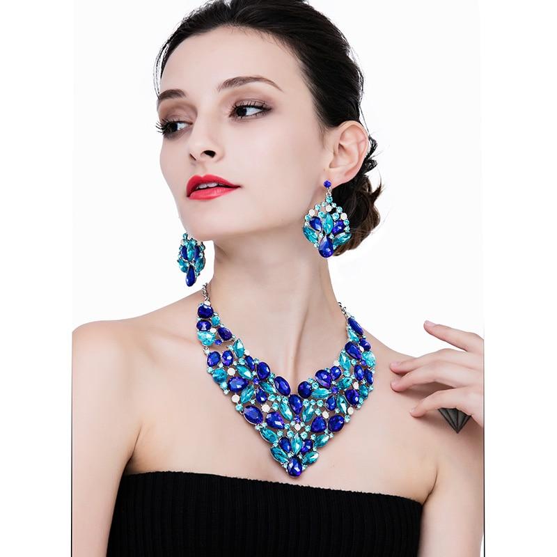 HOUDA Moda Mujeres Juegos de Joyería Grande Pesado Crystal Hipoalergénico Collar