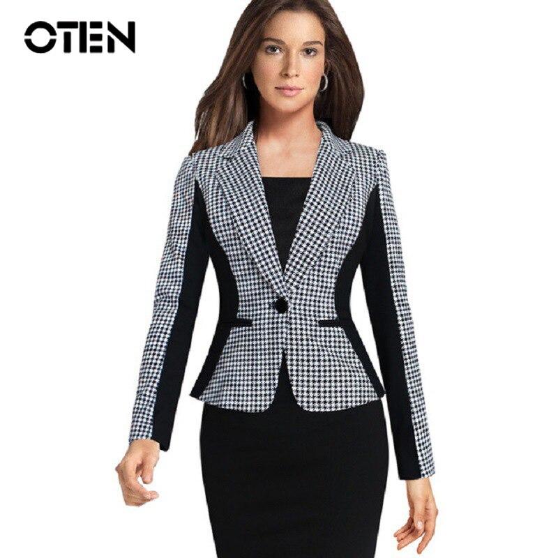OTEN 2019 Fashion Women Autumn Plus Size Office Work Wears Slim Black White Houndstooth Blazer And Cardigans Ladies Suit Jackets