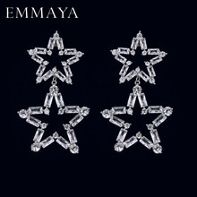 EMMAYA New Luxury Long Big Drop Earrings Micro Paved Tiny CZ Star Shape Pendant for Women Party Wedding Jewelry(China)