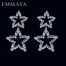 EMMAYA New Luxury Long Big Drop Earrings Micro Paved Tiny CZ Star Shape Pendant for Women Party Wedding Jewelry
