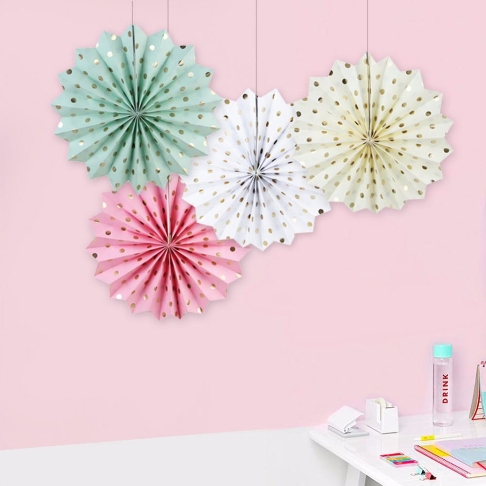 New 1pcs Dot Paper Fan Home Decoration Wedding Birthday Party Hanging 30cm Paper Crafts Fan Baby