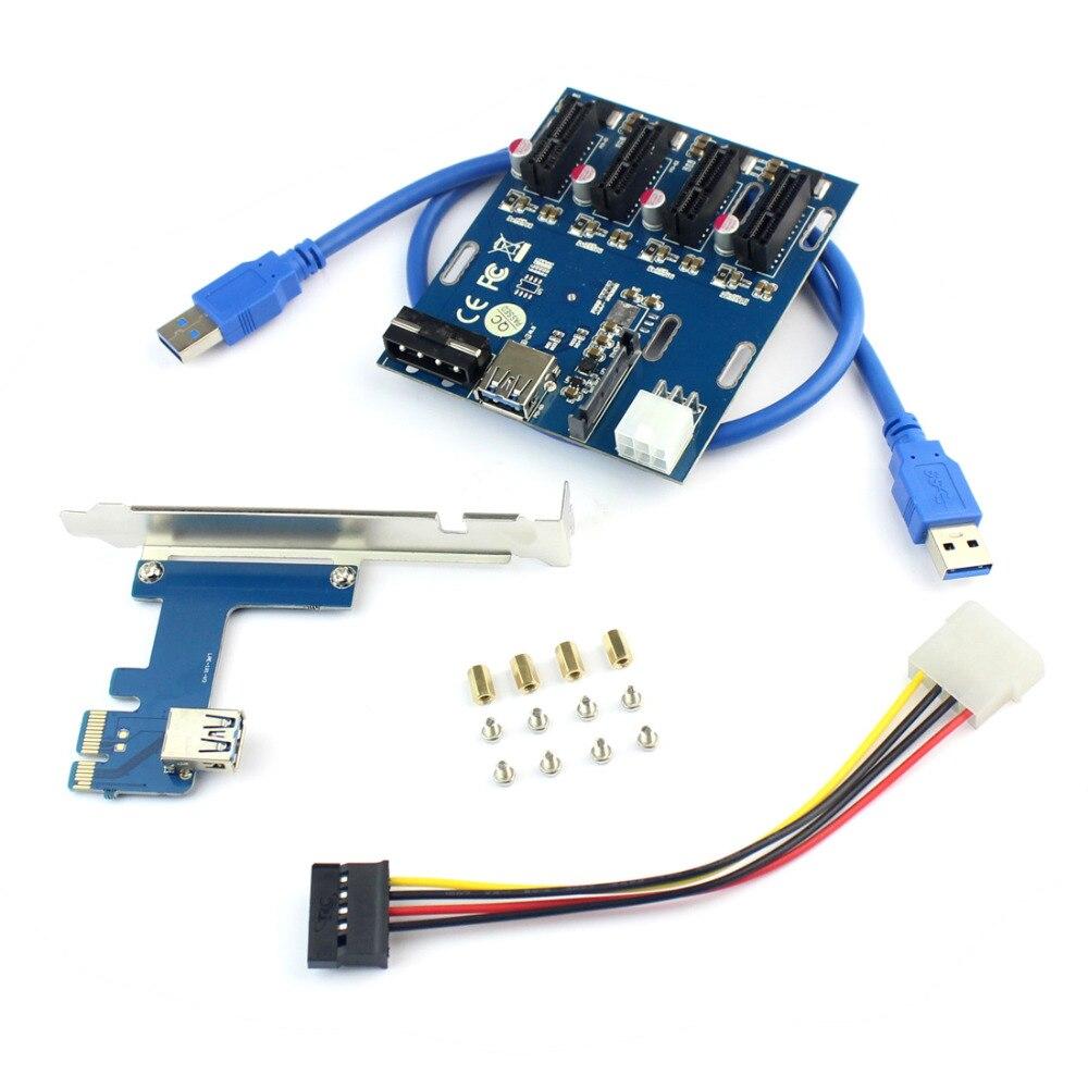 XT-XINTE PCIe 1 a 4 PCI Express 1X ranura tarjeta vertical Mini ITX externo 4 PCI-E adaptador de puerto multiplicador tarjeta para Miner BTC