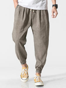 Privathinker Harem Pants Trousers Linen Men Joggers Harajuku Chinese-Style Male Casual