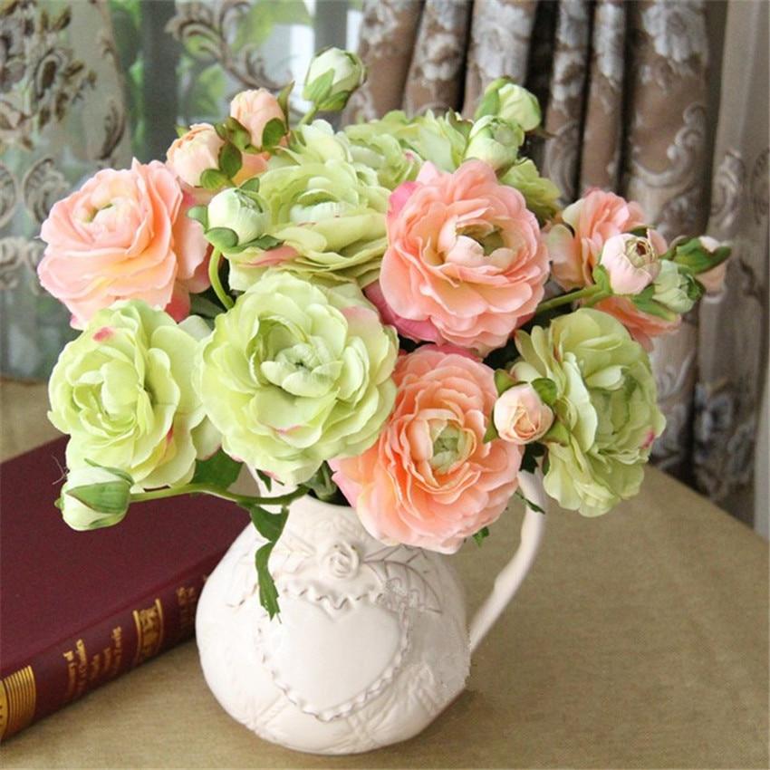 2 blommhuvud europeiska silkesblommor 1 st bukett konstgjord vår - Semester och fester - Foto 5