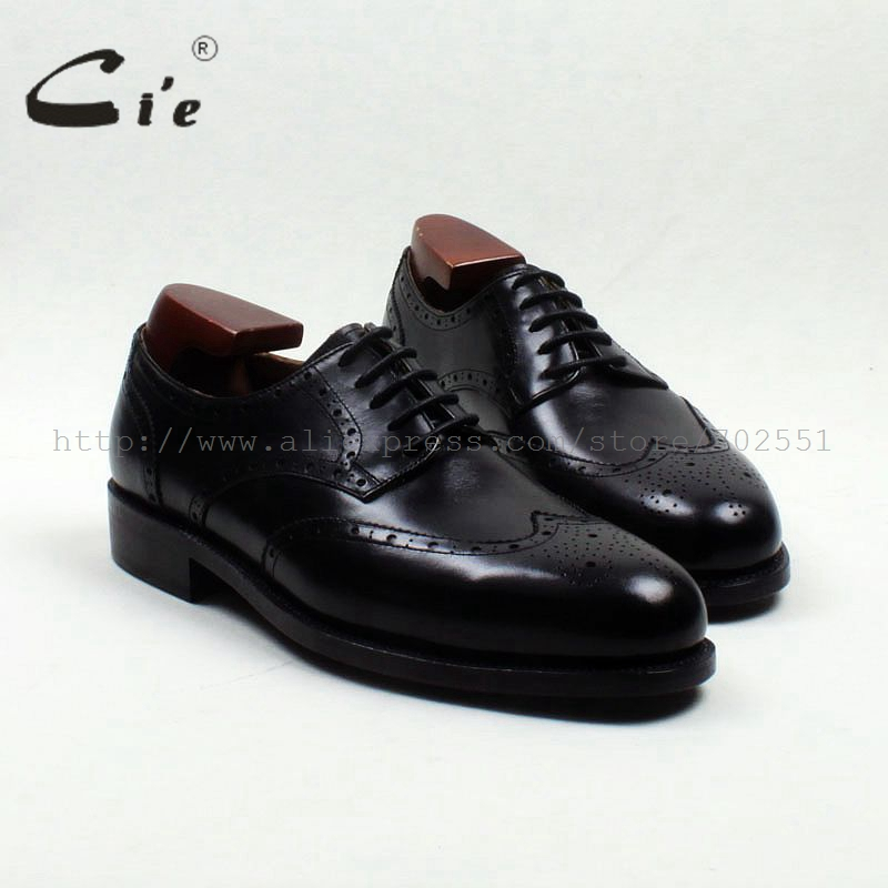 cie Round Toe Full Brogues Cut-Outs Solid Black Handmade Derby Men's Leather Shoe 100 Genuine Calf Leather Goodyear Welted D175