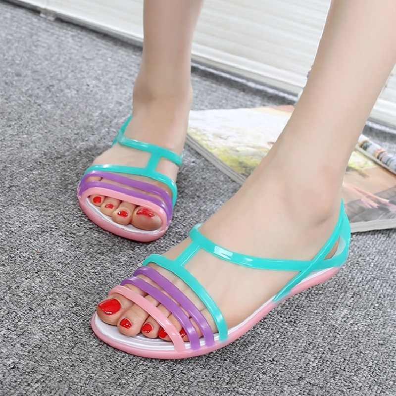 896c49f817694 ... Fashion Candy Color Women Sandals Jelly Shoes Summer Flat Sandals Mixed  Colors Ladies Sandals 2019 Women ...
