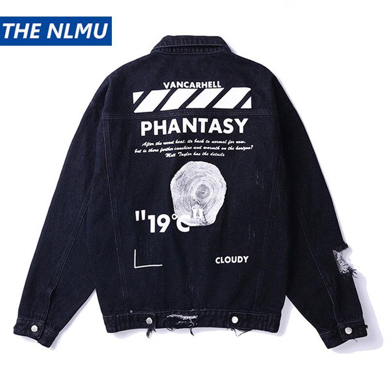 Taille américaine Denim veste hommes trou en détresse impression Jeans manteau Hip Hop veste Streetwear 2019 printemps haut d'automne pour homme noir HW118
