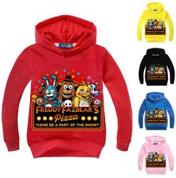 Meninos roupas dos desenhos animados crianças mangas compridas t camisas cinco noites na roupa de freddy camiseta crianças 5 freddys topos com capuz