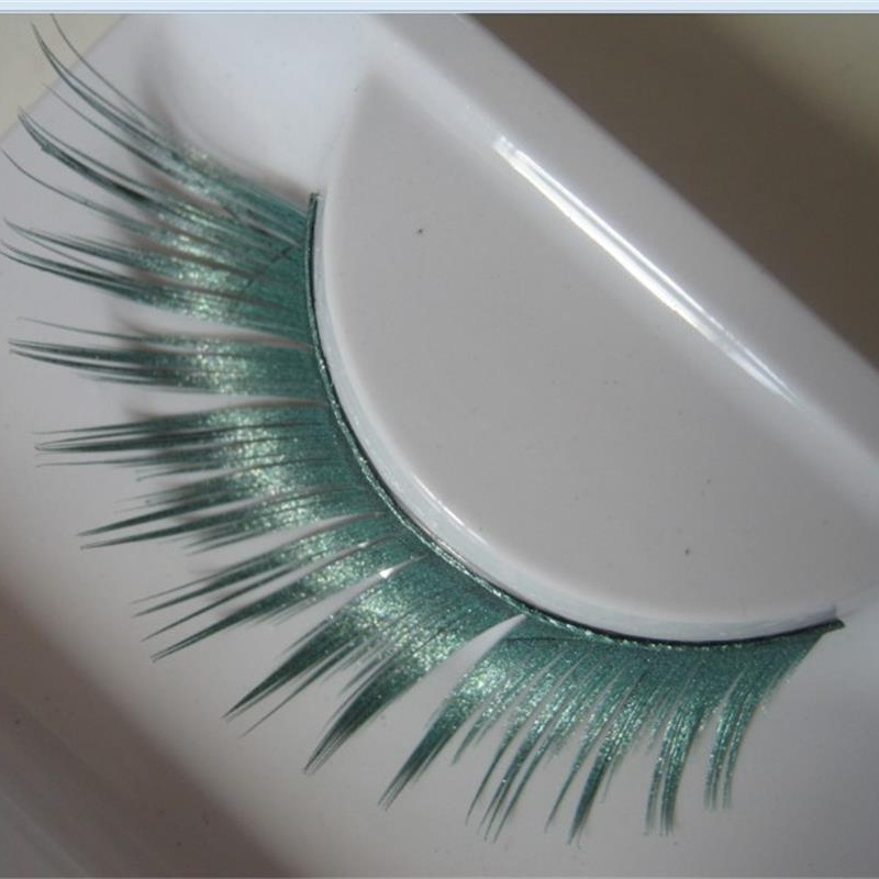 1 Pairs Green Winged Spray Colorful False Eyelashes Masquerade Exaggeration Stage Natural False Eye Lashes PC10