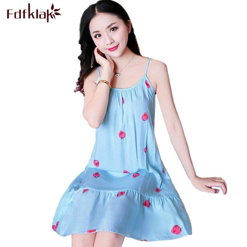 Fdfklak Women Nightshirt Night Dress Spaghetti Strap Summer Sleepwear Nightgowns Printing Night Gown Female Nightwear Nighty