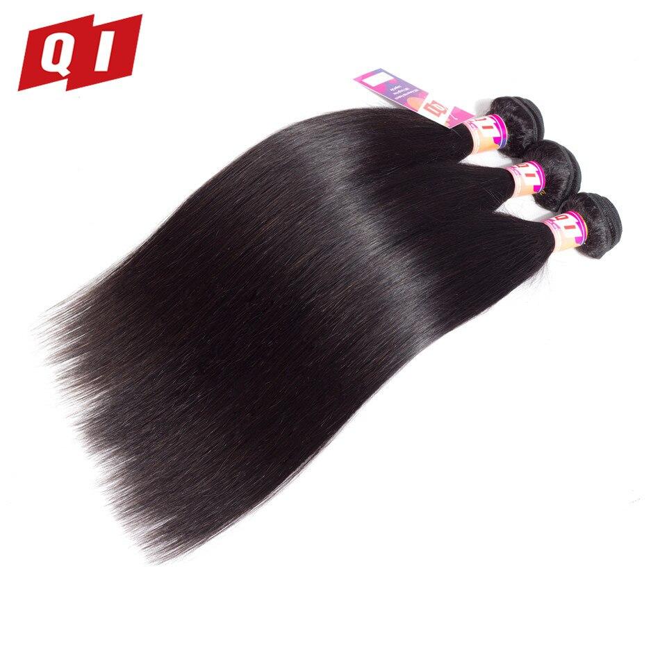 QI Hair Brazilian Straight Hair Bundles 8-26 Inches Non Remy Hair Natural Color 100% Human Hair Extensions Bundles 3 PCS