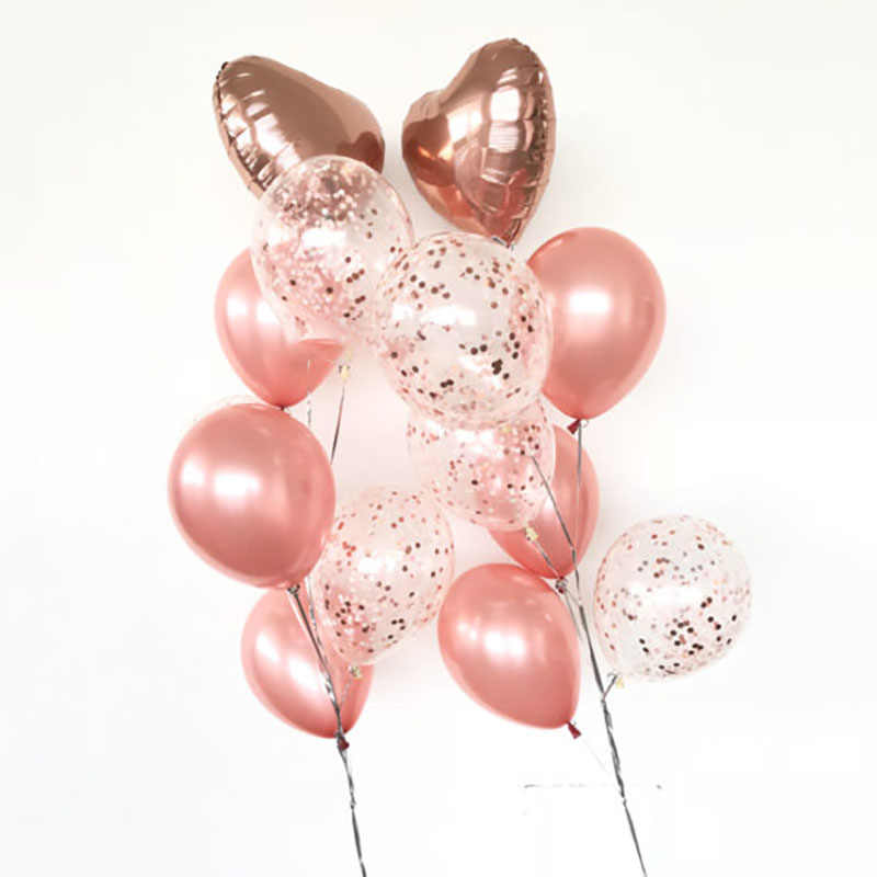 20pcs/set Rose Gold Helium Balloons Bouquet Heart Baloon Confetti & Plain Latex Bouquet 1st Birthday Decoration Party Birthday