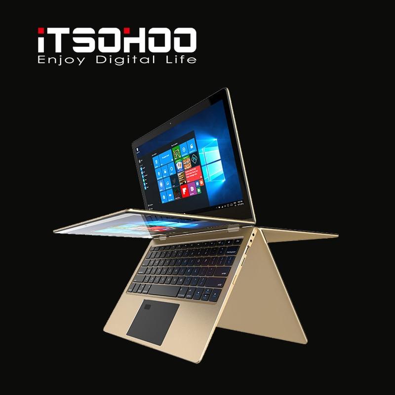 11.6 inch convertible laptops 360 degree touch screen notebook iTSOHOO 8GB RAM Metal Golden laptop fingerprint unlock computer 2