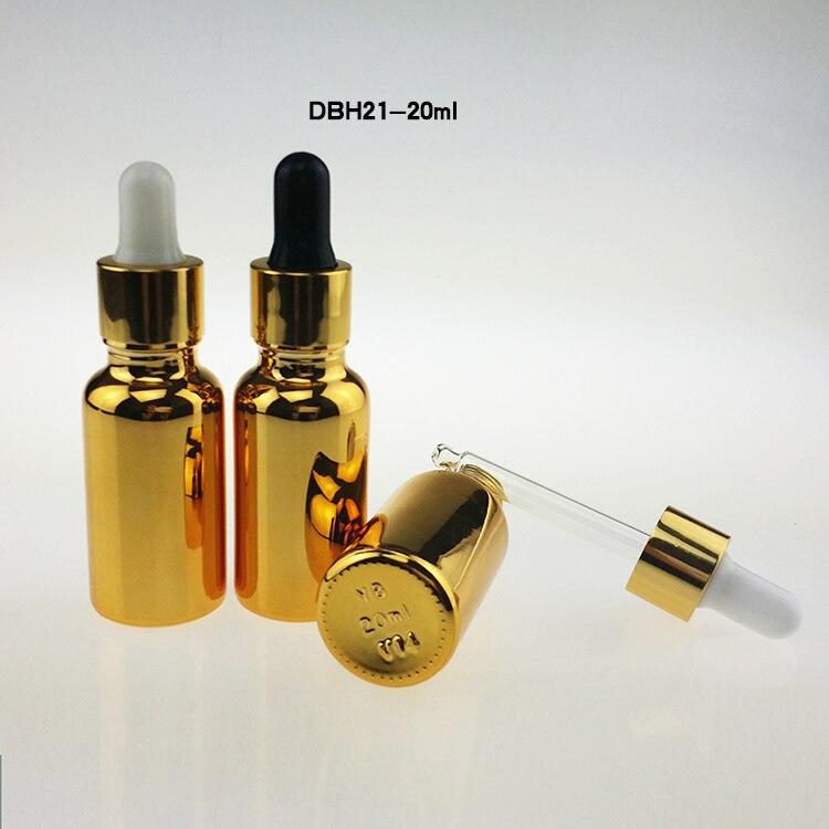 100pcs high grade 20ml unique glass bottles with dropper glass oil dropper bottle empty golden glass