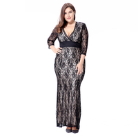 Plus Size Women Clothing 2017 Hot Elegant Summer Maxi Dresses Lace Half Sleeve V Neck Big