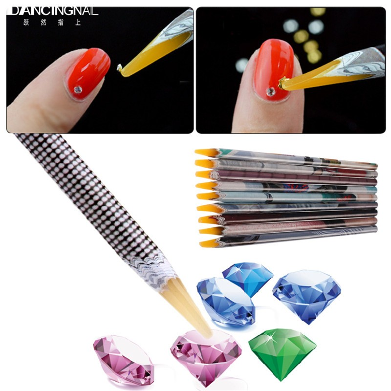 Aliexpress Pro 1pc Rhinestones Picker Pencil Nail Art Gem Setter Pen Picking Tool Wax Crystal Dotting Pens For Nails Diy Beauty Tools From