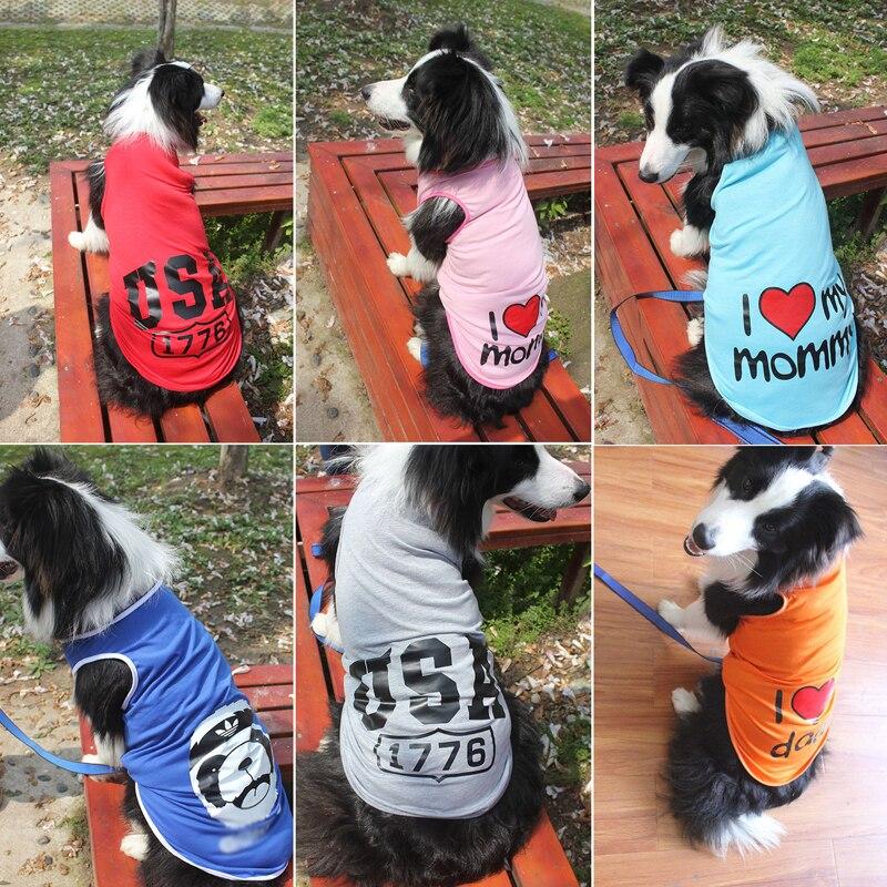 Small Large Pet Dog Shirt Vest Clothes Summer Big Dog Sweatshirt Apparel 3XL-9XL