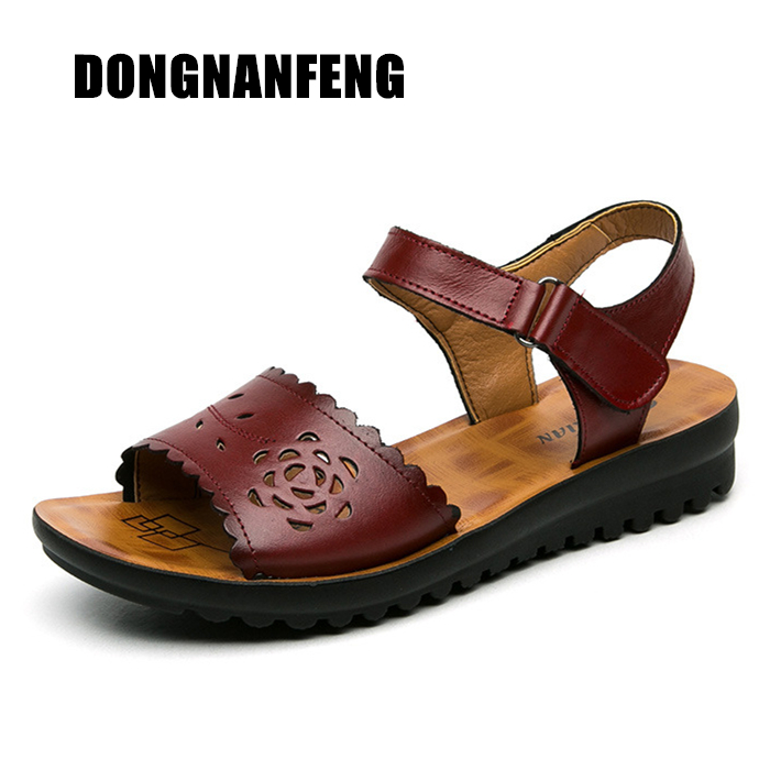 DONGNANFENG sievietes sievietes vecās mātes sandales kurpes govs - Sieviešu apavi