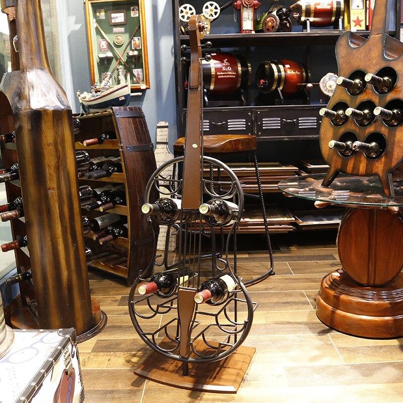 European creative iron violin wine rack American loft industrial style bar restaurant decorationEuropean creative iron violin wine rack American loft industrial style bar restaurant decoration