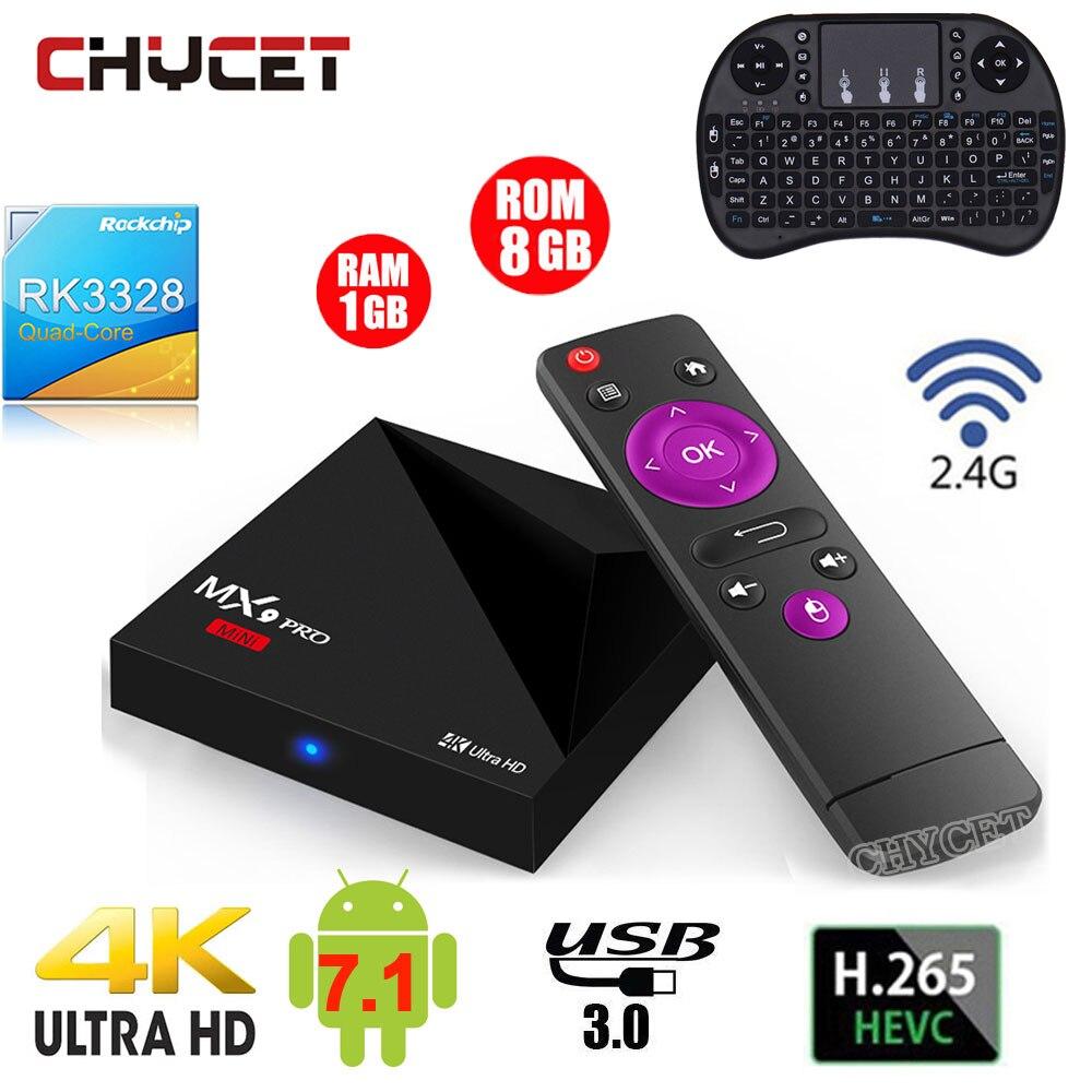 MX9 Pro мини Android 7,1 ТВ коробка RK3328 4 ядра 4 К VP9 H.265 HDR10 USB3.0 1 г/8 г mini PC 2,4 г Wi-Fi LAN HD медиаплеер