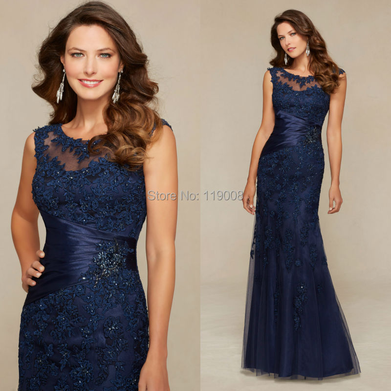 2016 Lace Mermaid Mother Of The Bride Dresses Groom: New Arrival 2016 Vestido Longo Navy Blue Lace Mother Of