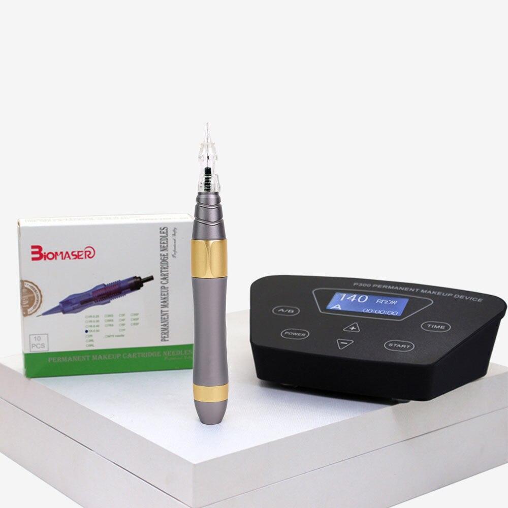 Biomaser stylo Machine à tatouer rotatif professionnel complet pour maquillage Permanent sourcils lèvres kit de bricolage Microblading avec aiguille de tatouage - 3
