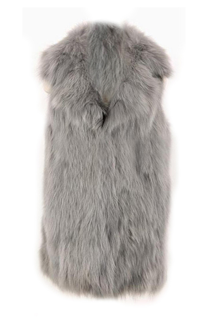 SAF-Women's Faux Fur Jacket Long Coat Overcoat Casual Winter Vest Outwear(L)