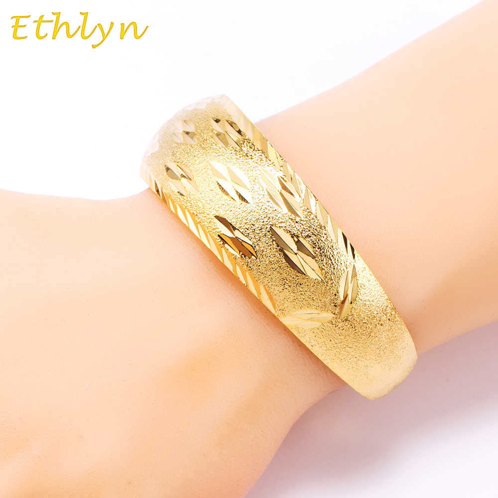 Ethlyn African Bangles for Women's  Gold Color Dubai Jewelry Ethiopian Bangle Arab Bracelets,Bridal Gift/Mom Present B031
