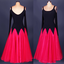 Blue rose red, yellow competition modern dance one-piece dress dance expansion skirt bottom costume women waltz tango ballroom